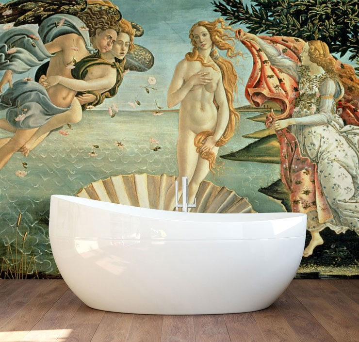 antique painting of venus by Boticelli in modern bathroom