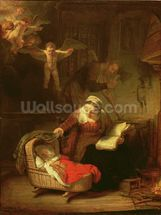 The Holy Family, c.1645 (oil on canvas) wallpaper mural thumbnail
