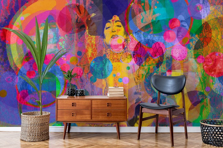 multi coloured abstract art of vintage french lady in trendy scandi room
