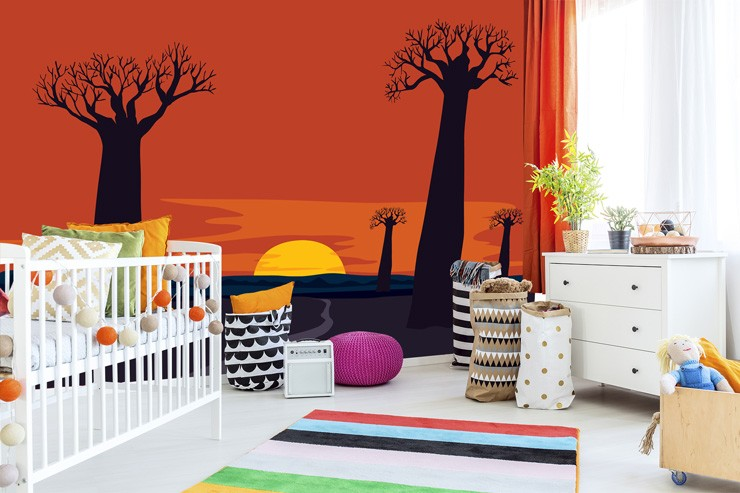 Colourful-trees-wall-murals-in-kids-bedroom