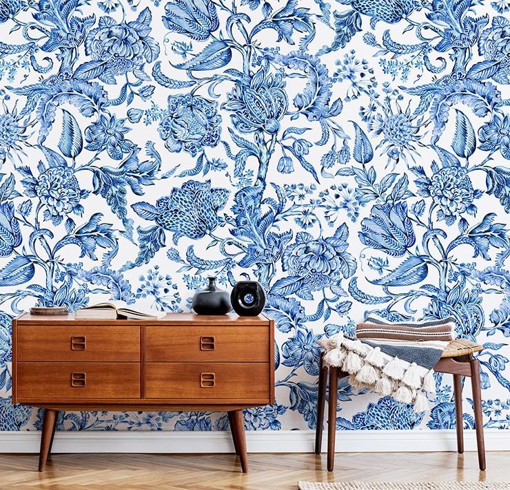 blue and white vintage floral wall mural in on-trend hallway