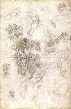 Study of figures for The Last Judgement with artists signature, 1536-41 (charcoal on paper) (recto) wall mural thumbnail