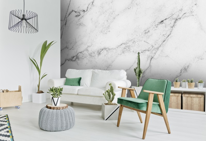 White decor colour theory for your home featuring marble wallpaper