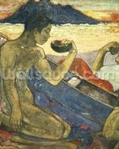 A Canoe (Tahitian Family), 1896 (oil on canvas) wallpaper mural thumbnail