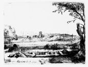 View of a Canal, 1650 (etching) mural wallpaper thumbnail