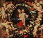 Virgin with a Garland of Flowers, c.1618-20 (oil on panel) wall mural thumbnail