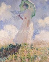 Woman with Parasol turned to the Left, 1886 (oil on canvas) wallpaper mural thumbnail