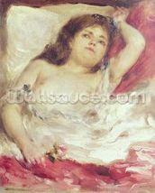 Semi-Nude Woman in Bed: The Rose, before 1872 (oil on canvas) wallpaper mural thumbnail