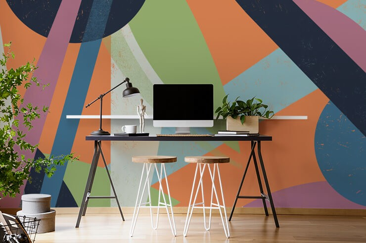 orange, green, purple. pink and blue abstract shape wallpaper in simple home office