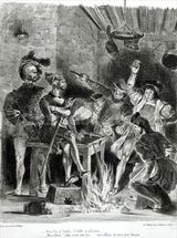 Mephistopheles and the Drinking Companions, from Goethes Faust, 1828, (illustration), (b/w photo of lithograph) wall mural thumbnail