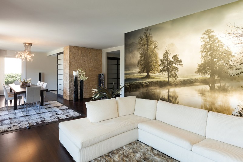 Forest mural in living room
