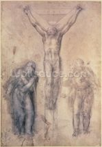 Inv.1895-9-15-509 Recto W.81 Study for a Crucifixion (pencil & chalk on paper) wall mural thumbnail