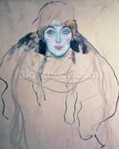 Head of a Woman (pen & ink & w/c on paper) wall mural thumbnail