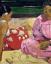Women of Tahiti, On the Beach, 1891 (oil on canvas) wall mural thumbnail