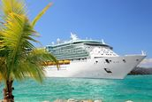 Luxury Cruise Ship Sailing from Port mural wallpaper thumbnail