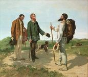 La Rencontre, or Bonjour Monsieur Courbet, 1854 (oil on canvas) mural wallpaper thumbnail