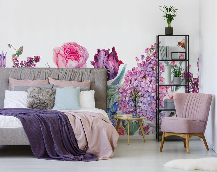 lilac and pink floral wallpaper in bedroom with grey and pink accessories