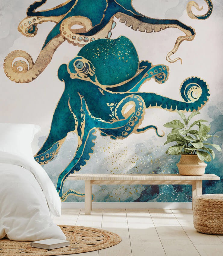 teal and gold octopus wallpaper in calm bedroom