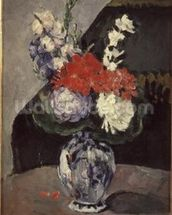 Flowers in a Small Delft Vase, c.1873 (oil on canvas) wallpaper mural thumbnail