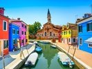 Burano Canal, Houses, Church and Boats wall mural thumbnail