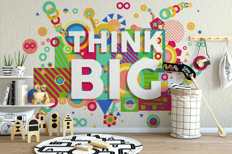colourful think big quote wallpaper in trendy child's learning room