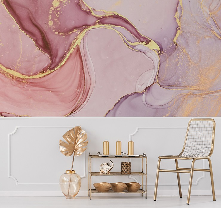 pink marble with gold touches wallpaper in gold lounge