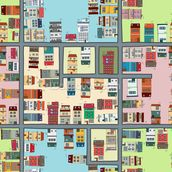 Cartoon Street Map mural wallpaper thumbnail