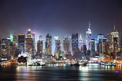 New York - Manhattan Skyline at Night wallpaper mural thumbnail