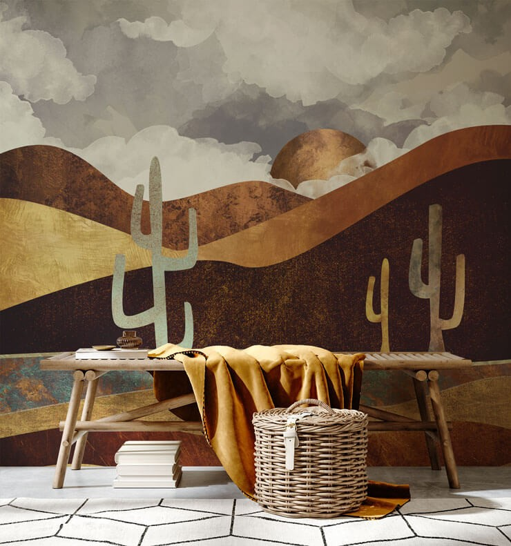 gold and brown cactus wallpaper in room with bench and mustard throw