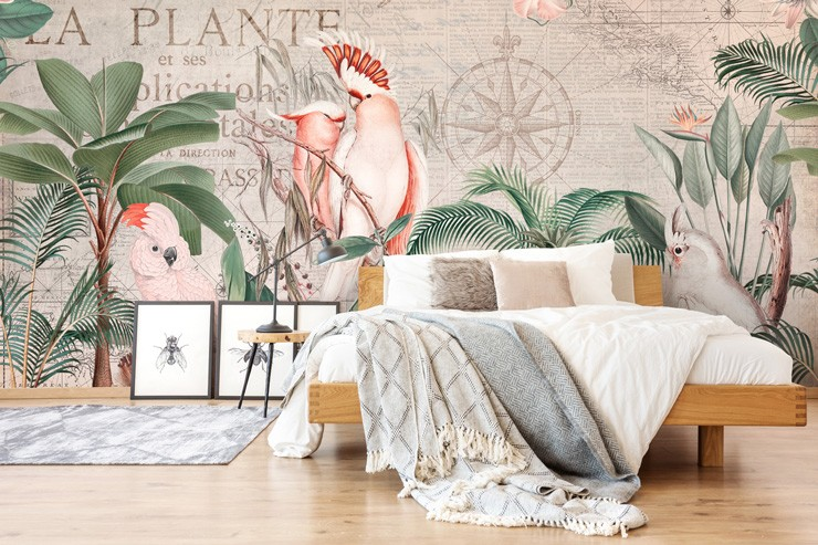vintage map and jungle wallpaper mural in bedroom