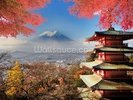 Mt. Fuji with Autumn Colours wall mural thumbnail