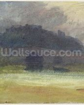 Evening Landscape with Castle and Bridge in Yorkshire, c.1798-99 (w/c on wove paper) wallpaper mural thumbnail