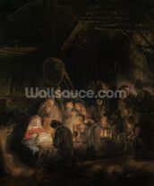 Adoration of the Shepherds, 1646 (oil on canvas) wall mural thumbnail