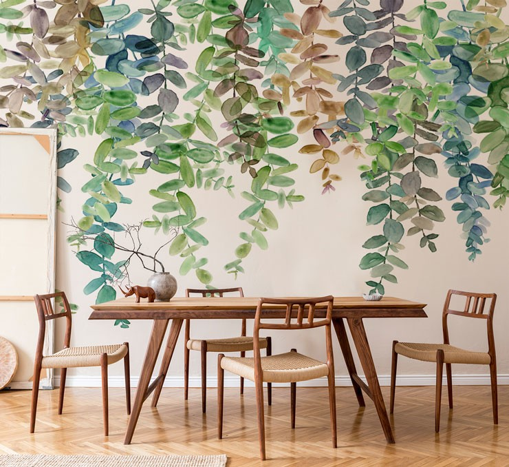 brown, green, blue hanging leaves wallpaper in natural wood dining room