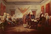 Signing the Declaration of Independence, 4th July 1776, c.1817 (oil on canvas) mural wallpaper thumbnail