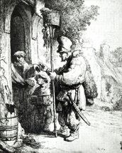 The Ratcatcher, 1632 (etching) (b/w photo) wallpaper mural thumbnail