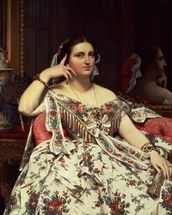 Madame Moitessier, 1856 (oil on canvas) mural wallpaper thumbnail