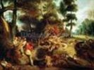 The Wild Boar Hunt, after a painting by Rubens, c.1840-50 (oil on canvas) wall mural thumbnail