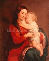 Virgin with Child (oil on canvas) wallpaper mural thumbnail