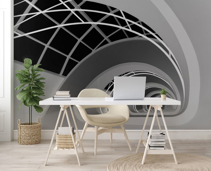 black and white twirl wallpaper in white modern office