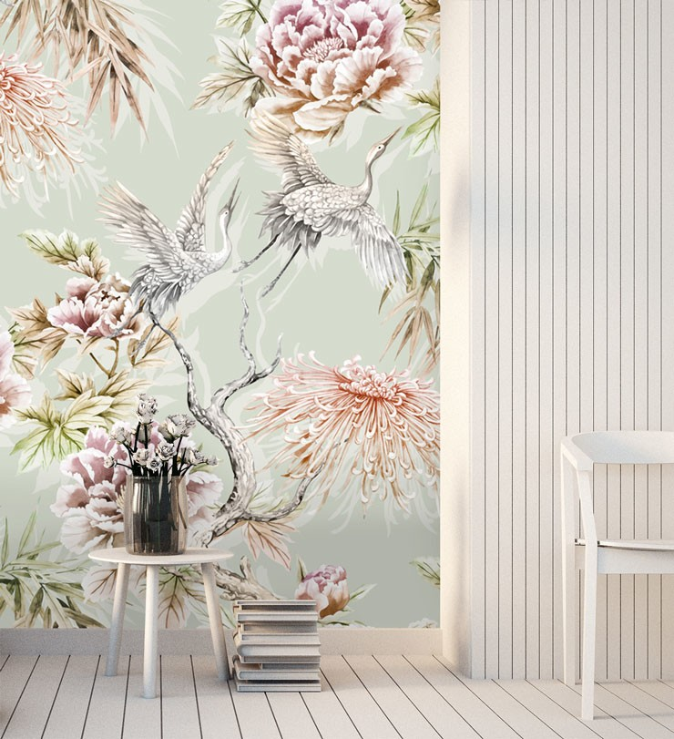 pale green, pink floral and bird chinoiserie wallpaper in beautiful hallway