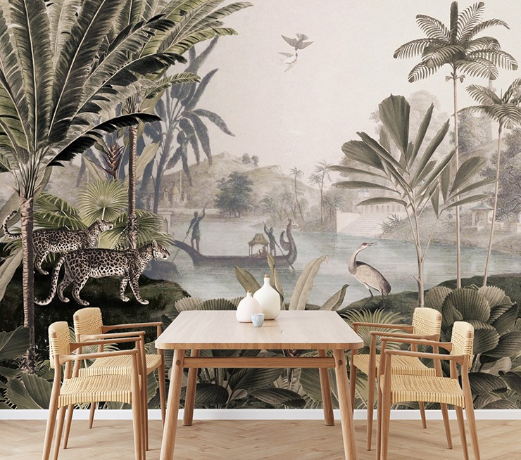 vintage illustrated jungle wallpaper with wooden and wicker dining set