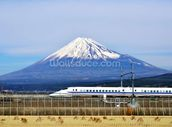 Mt. Fuji and the Bullet Train mural wallpaper thumbnail