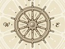 Vintage Ship Wheel wall mural thumbnail