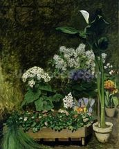 Flowers in a Greenhouse, 1864 (oil on canvas) wall mural thumbnail