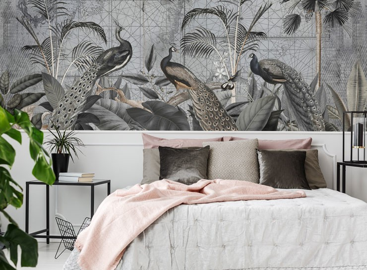grey illustrated vintage peacock wallpaper in grey and pink bedroom