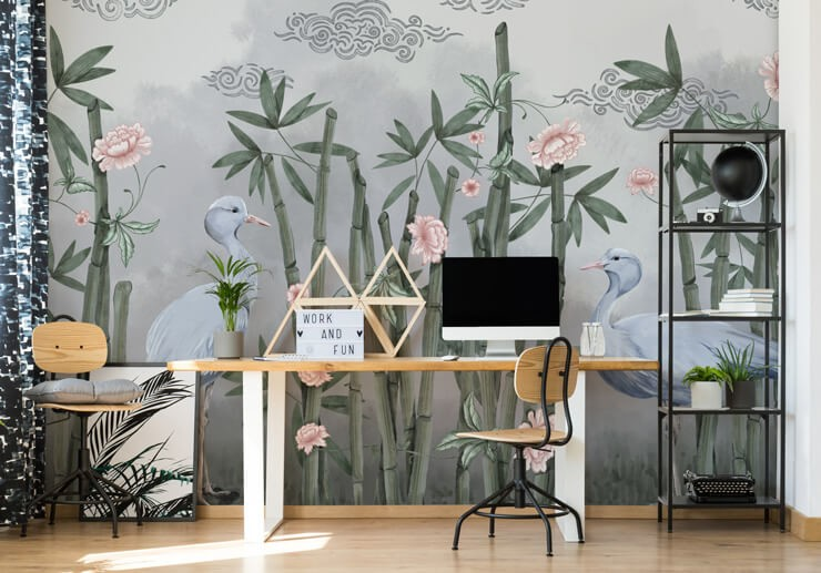 illustrated bamboo and pink florals with grey birds wallpaper in home office