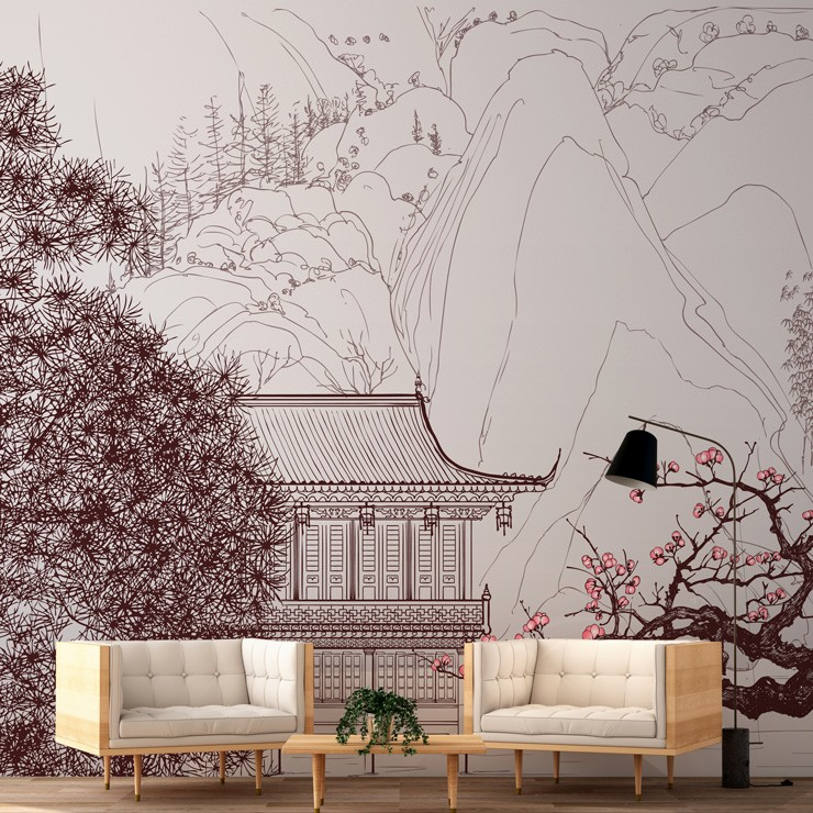 white and pink oriental house and sakura blossom wallpaper with two white low seats