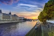 Seine Sunset wall mural thumbnail