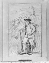 Camille Pissarro (black lead on paper) (b/w photo) wall mural thumbnail